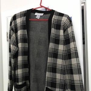 black & white checkered cardigan